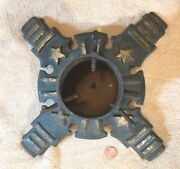 Antique Victorian Christmas Tree Stand Cast Iron Holiday Gold Stars Patriotic