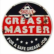 Vintage Antique Style Metal Sign Skelly Grease 30 Round