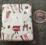 Pottery Barn Kids Twin Santa Friends Flannel Duvet Christmas Nwt Sold Out
