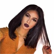 Stock Lace Front Brazilian Natural Color Straight Human Hair Bob Wigs 8-16 150