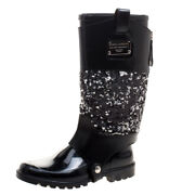 Dolce And Gabbana Sequins Embellished Leather Wellington Rubber Rain Boots 37 6.5