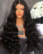 Stock Lace Front Brazilian 1b Sngl Knts 5.0 Str. Human Hair Wig Fake Scalp 8-22