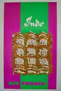 Air France India Vintage Airlines Travel Poster 1968 George Mathieu Linen Nm