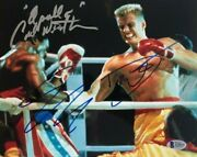 Sylvester Stallone Dolph Lundgren Carl Weathers Signed Autographed 8x10 Photo