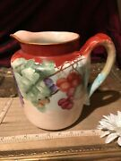 Handco L Haviland Co. France, Handpainted Grape And Leaf Water Pitcher Signed 7 3/8