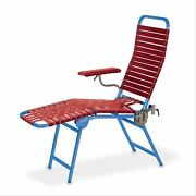 Folding Portable Donor Chair Royal Blue Frame, Red 1 Ea