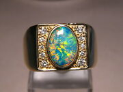 Large Mens Diamond And Opal Ring 18 Grams Of 14 K Yellow Gold
