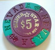 1990 Silver Star Casino Las Vegas, Nevada 5.00 Gaming Chip Great For Collection