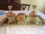 Gold Filigree Perfume Tray With 2 Bottles And Jewelry Box