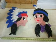 Vintage Melted Popcorn Plastic Decor Thanksgiving Native American Indian Pair