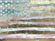 Original American Flag Gold Leaf Art Canvas Painting 30x40and039and039 Ready To Hang