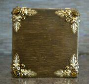 Mike And Ally Boutique Tissue Box Cover - Ornate Brown And Gold With Tiger Eye