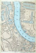 London, 1885 - Deptford, Rotherhithe, Canary Wharf Original 9 Scale Antique Map
