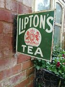 Liptons Tea Double Sided Enamel Sign Old Shop Sign Old Porcelain Liptonand039s