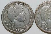 Lot Of Two Barber 90 Silver Quarters Very Good 1904 O And Fine 1905 P Num4023