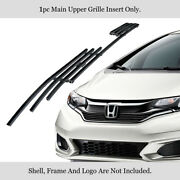 For 2018-2019 Honda Fit With Logo Show Main Upper Black Stainless Billet Grille