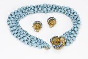 Miriam Haskell 1950andrsquos Frank Hess Blue Glass Beads Flower Necklace Earrings Set