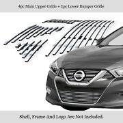 Fits 2015-2018 Nissan Maxima Main+lower Billet Grille Insert Combo