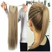 Remeehi Thick Clip In Ponytail Remy Human Hair Extensions Wrap Around 20-30