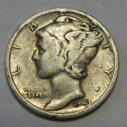 1943-s Mercury Head Silver Dime In Average Circulated Condition Priced Right