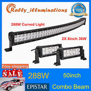 288w 50inch Curved Led Light Bar Combo For Atv Offroad Boat+2x 36w 8inch Lamps