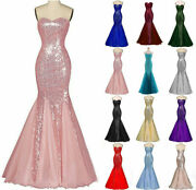 Women Sequin Formal Prom Cocktail Party Ball Gown Evening Bridesmaid Dress Zg9