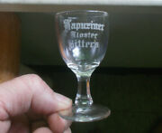 Kapuziner Kloster Bitters Etched Pre Pro Advertising Shot Glass Chicago,il 1900