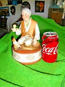 1974 Lionstone Orig Sculpture, Japanese Lady With Chickens Decanter Japan