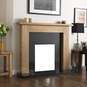 Solid Oak Electric Gas Wood Surround Black Granite Fire Fireplace Wall Set Suite