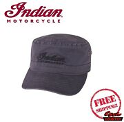 Genuine Indian Motorcycle Brand Army Hat Gray Metal Clasp Adjustment New