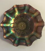 Antique Amethyst Carnival Glass Dugan Stippled Petals Footed Bowl