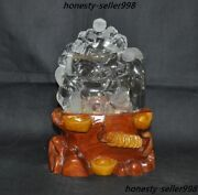 Rare Natural White Crystal Carving Wealth Money Coins Boy Lanterns Lucky Statue