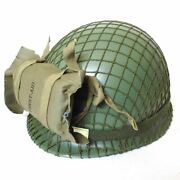 Wwii Us Army Paratrooper Helmet With First Aid Pouch Netting Classical Repro