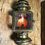 Antique 1909 Vintage Solar No 933 Carriage / Auto / Brass Side Lamp Lighted