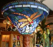 Fabulous Torchiere Floor Lamp W/ Stained Glass Dragon Fly Shade 74 Tall