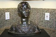 Antique Signed 1882 Ceramic Bronze Bust Sculpture Of Young Girl Or Boy Greek