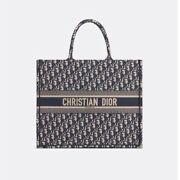 Dior Book Tote Navy Embroidered Canvas