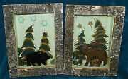 2 Nice Rustic Primitive Distressed Shadow Boxes/dioramas Moose And Bear