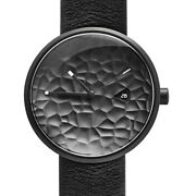 Projects Watches Carve Black Steel Grey Analogue Quartz Leather Unisex Watch