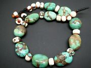 Vintage Tibetan Turquoise Conch Shell Bronze Lapis Coral Gemstone Necklace 18