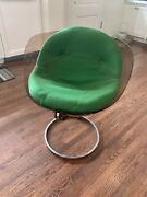 Mid Century Plastic Chair With Green Cushion