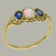 Solid 14ct Yellow Gold Real Opal And Sapphire Ladies 3 Stone Ring - Sizes J To Z