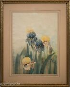 Two Beautiful Vintage Floral Watercolor Paintings By May Minuth Signed And Nice