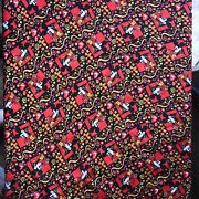 🔥scarce Vintage Floral Mickey Mouse Large Silk Scarf 30x31 Inches Square