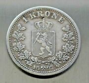 1897 Norway 1 Krone Silver Foreign Coin Only 250,000 Minted 80 Silver