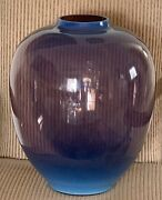 Monumental And Heavy Italian Murano Opalescent Glass Vase 20 High By 17 Wide