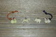 Vintage Cracker Jack Gumball Charms Trinkets 4 - Chickens Horse Elephant