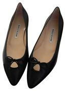 Manolo Blahnik Black Pointy Flats Pre-owned 37.5 Us Size 7 Will Fit Better