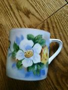Vtg Lefton China Hand Painted Cup Mug Sl 3918 White W/gold Floral
