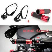 7/8 Motorcycle Rear View Red Handle Bar End Hand Grips For Kawasaki Z1000 Z900